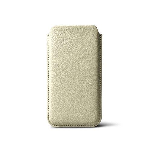 Lucrin - Etui iPhone 5/5S/SE avec tirette - Rose Saumon - Cuir de Chèvre Blanc Cassé