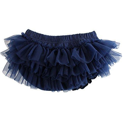 juDanzy judanzy Ruffle Chiffon or Satin Tutu All Around Bloomer Diaper Cover (0-6 Months Navy Chiffon)