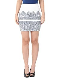 Alibi White Printed Knitted Skirt