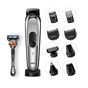 Braun 10-in-1 All-in-One Trimmer MGK7021 Beard Trimmer and Hair Clipper, Body Groomer, Ear Nose Hair Trimmer, Mini Shaver and Detail Trimmer, Black/Grey