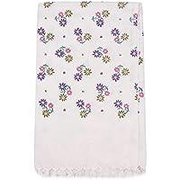 Printed Cotton Bath Towel (Full Size/30x60inch, White)