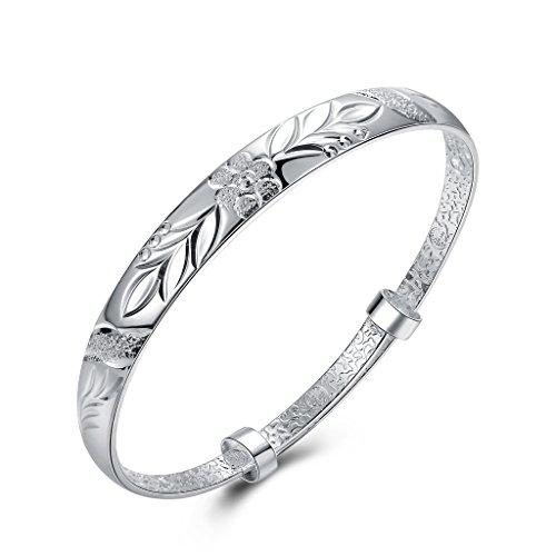nykkola nykkola Armband Fashion Jewelry Schöne Stil Classic 925Sterling Silber vergoldet Flower geschnitzt verstellbar (Geschnitzt Vergoldet)