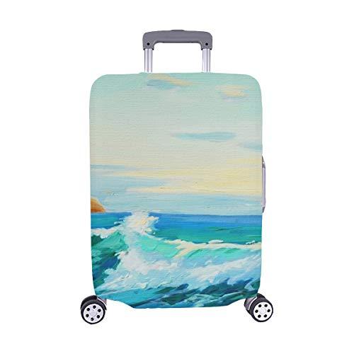 Pittura di paesaggio mediterraneo da olio su Spandex Trolley Custodia da viaggio Protezione copri valigia 28,5 X 20,5 pollici