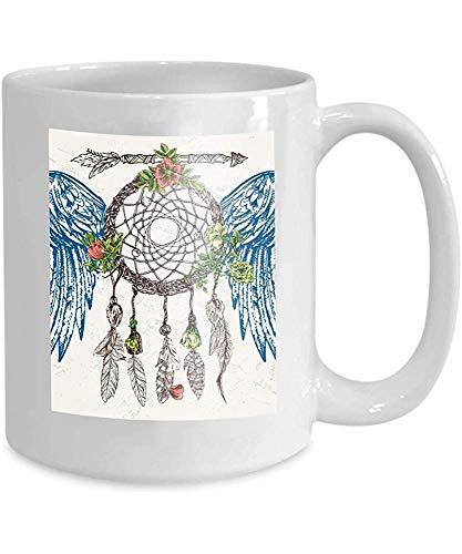 taza café té taza atrapasueños alas hermosa acuarela dibujado a mano póster pájaro estilo boho dibujo feliz 110z