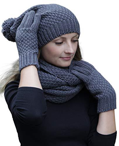 bonnet//bonnet en tricot assorti et gants en option ou chauffe-mains Ensemble hiver combo Hilltop /écharpe dhiver winterset couleur//composition:Gris fonc/é avec gants