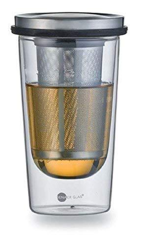 Jenaer Verre 116576 Hot N Cool Thé Primo thermotee Verre avec Acier Inoxydable passoire à thé, 355 ML, Transparent 9,2 x 9,2 x 15.55 cm