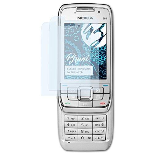 Bruni Schutzfolie für Nokia E66 Folie, glasklare Displayschutzfolie (2X)