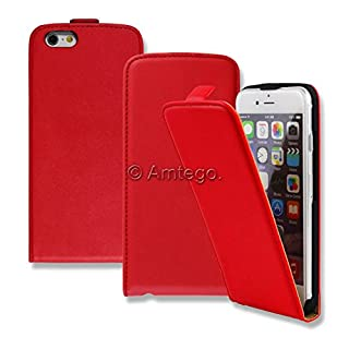 Mobile Phone Flip Case Slim Faux Leather Case in Red for Apple iPhone 6 Plus