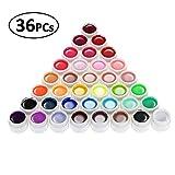 36PCS Colore Gel Unghie Art Pigmento Set UV Gel Set UV Gel Diversi Colori Attrezzi Unghie Finte Taglia Tips gel Colorato Regali Natale