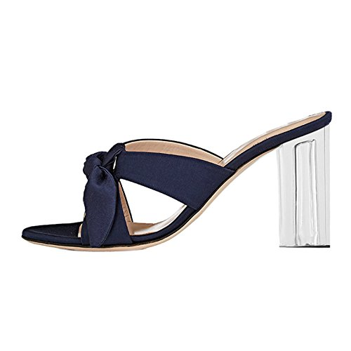 Damen Peep Toe Bowknot Satin Sandalen High-Heels Transparent Blockabsatz Dunkelblau