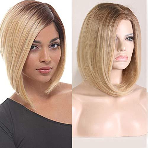 Perruque de Cheveux Synthétiques Femmes Dégradé Couleurs Mixtes Courtes Perruques Complètes Straight de Fête tete wiwigs xxl 2019 (15 inch)
