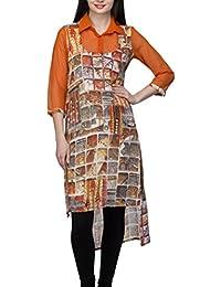 Indietoga Digital Print Georgette Orange Collar Long Asymmetrical Party Wear Kurti For Girls