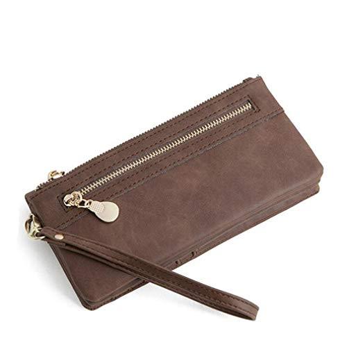 ange Brieftasche Kupplung Handtasche Karte PU Leder Armband Tasche Handy Coin Organizer große Kapazität Geldbörse, Kaffee ()