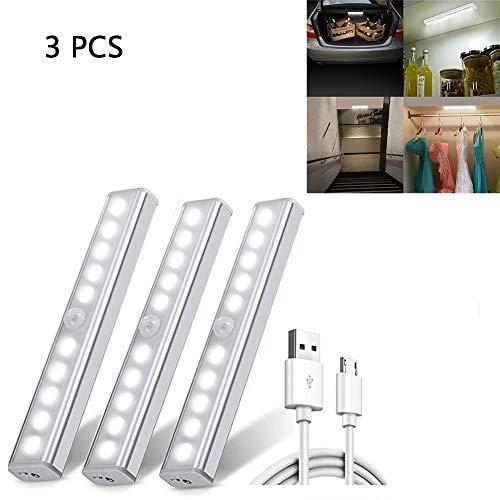 Hyuhome Sensore di Movimento Armadio Ligh Luce Notturna Ricaricabile USB 10LED con Striscia Magnetica Rimovibile Armadio Muro Guardaroba Corridoio