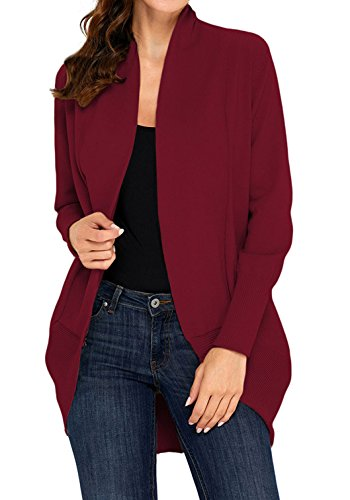 Orilife Women Fashion Casual Open Front Long Sleeve Knitted Cardigans Sweater Wine-Red, L (Front Sweater Knit)