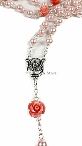 Zoom IMG-3 collana rosa cattolico con perla