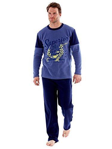 SaneShoppe - Ensemble de pyjama - Manches Longues - Homme - bleu - Large