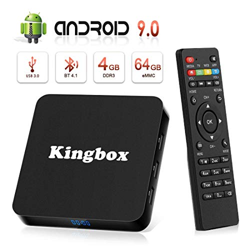 Android 9.0 TV Box BT4.1 [4GB RAM+64GB ROM] Boîtier TV 3D+4K [2019 Dernière Version] USB3.0 Kingbox Android 9.0 Smart TV, avec HD/H.265 / 4K / 3D / BT4.1