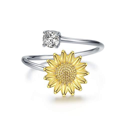 tellbare Sonnenblume Blume Offenen Ringe,Vergoldeter Ring Schmuck für Freundin Frau Mädchen ()