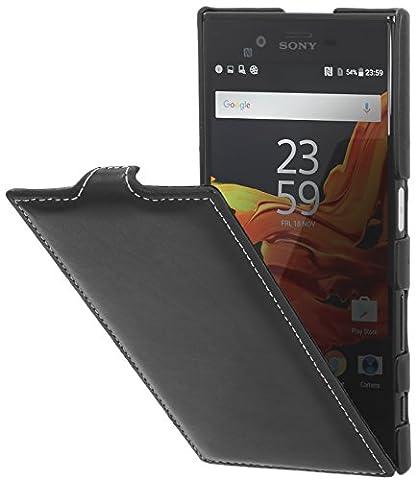 StilGut UltraSlim Case Hülle Leder-Tasche für Sony Xperia XZ & Xperia XZs. Dünnes Flip-Case vertikal klappbar aus Echtleder für das Original Sony Xperia XZ & Xperia XZs, Schwarz