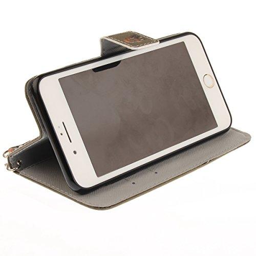 Coque iPhone 7 Plus, iPhone 8 Plus Coque Portefeuille, SainCat Ultra Slim Flip Cover pour iPhone 7/8 Plus, Anti-Scratch Bookstyle Etui en PU Cuir Coque Etui Cuir Cover Coque Cuir Coque Caoutchouc Étui Jeune Aigle