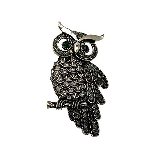 Bobury Crystal Owl Brosche Schal Clip Revers Pin Broches Frauen Pullover Hüte Schnallen (Owl-hut-schal)