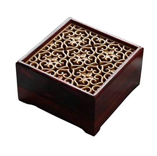 GOG Leaflet Palisander Pflaume quadratische Hohle Platte Räucherstäbchenbox Tragbarer Räuchergefäß aus Palisander Räucherstäbchen aus Sandelholz