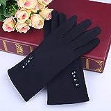 Leoie Women Winter Warm Touch Screen Gloves Elegant Solid Color Full Finger Gloves