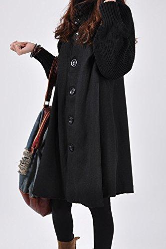 Le Donne Eleganti Classico Collo Alto Manica Lunga Allacciatura Impermeabile Outwear Black