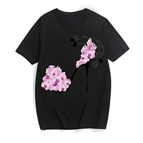 Tohole Frauen Kurzarm Blumen Pumps Gedruckt Tops Strand Beiläufige Lose Bluse Top T-Shirt(schwarz,XL)