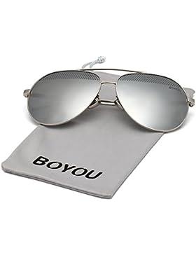 BOYOU Occhiali da sole UV400 Aviator Uomo, 61 mm Lenti, Protezione UV400