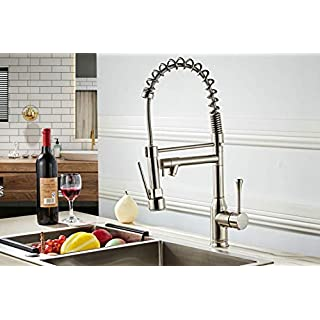 Professional Sink Mixer Tap Kitchen Faucet Brushed Nickel Brass 360 Degree Rotation Single Holder Single Hole Pull Out Sprayer + Swivel Mixer Spout Comes with UK Standard Fittings