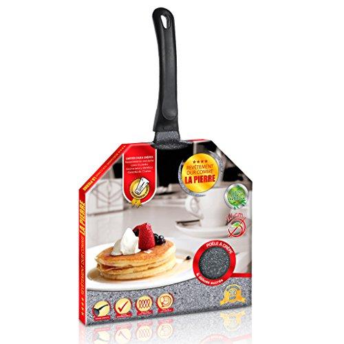 Kitchen Pro - Crêpière en Pierre diamètre 26 cm Tous Feux Dont Induction + 2 disques Anti-Rayures