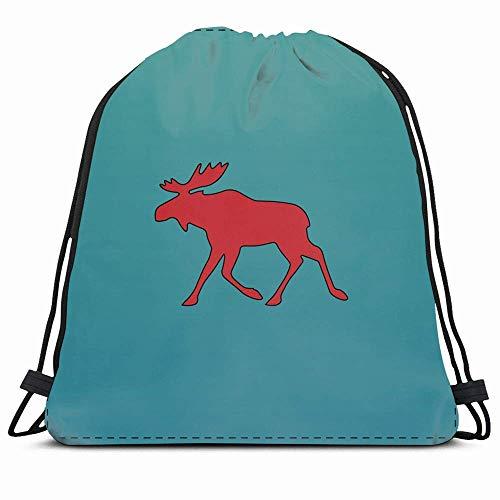KAKALINQ Drawstring Backpack String Bag Horn Nature Green Alaska Moose Red Black Hide Contour America Animals Fur Elk Antler Landscape Beard Beast Sport Gym Sackpack Hiking Yoga Travel Beach -