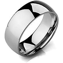 MunkiMix Ancho 8mm Acero Inoxidable Banda Venda Anillo Ring El Tono De Plata Alianzas Boda Hombre,Mujer
