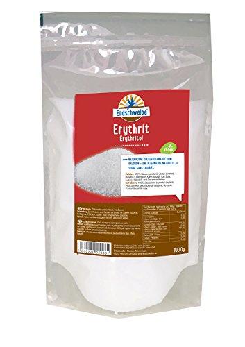 Erdschwalbe Erythritol natürliche Zuckeralternative - Energiefrei. 100% Erythritol Erythrit - 1kg (Fett Lösliche Ballaststoffe)