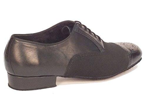 Scarpa da ballo per uomo in nappa e nabuk nero tacco 2cm Nabuk Nero / Nappa Nero