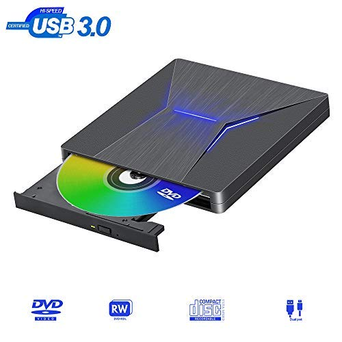 Externes DVD Laufwerk USB 3.0 Type-c Dual Port Superspeed Tragbar CD DVD-RW Brenner Extern Perfekt Kompatibel mit Windows 10/8.1/7