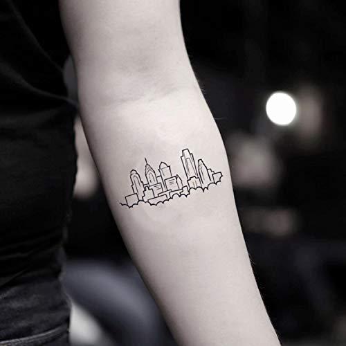 Philadelphia Skyline temporäre gefälschte Tätowierung Aufkleber abwaschbares Tattoo (Set von 2) - www.ohmytat.com