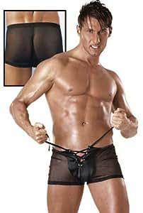 Lingerie Sexy Homme : Boxer noir fermeture a lacets Taille M