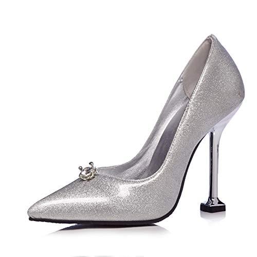 MENGLTX High Heels Sandalen 2019 Neue Ankunft Große Größe 48 Frauen Pumpt Flache Sommer Schuhe Stiletto Heels Kleid Schuhe Frau Party Prom Schuhe 15 Silber
