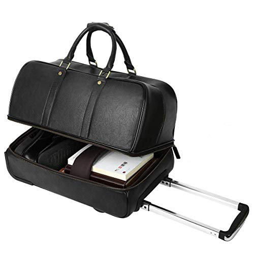Leathario Reisetasche aus Rindsleder - Weekender XL - Koffer mit Rollen Handgepäck Trolly Schwarz