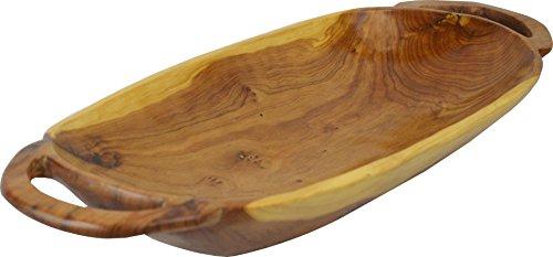 Bandeja o frutero con asa con forma de barco de Madera tuya marroquí - longitud 53 diámetro 22 altura 7 cm