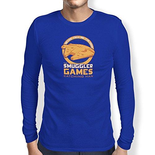 NERDO - The Smuggler Games - Herren Langarm T-Shirt, Größe L, marine (Hunger Games Kostüme Für Jungen)