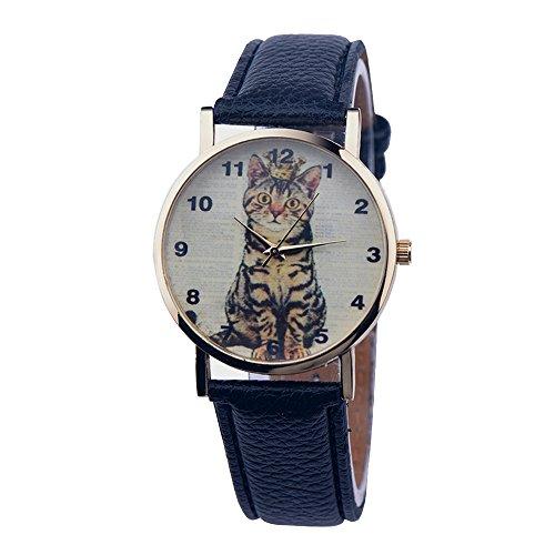Linda Sencillo Imperial Corona Gato Correa de Cuero Cuarzo Mujer Niña Niños Reloj de Pulsera, Negro