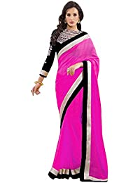 Om Designer Dazzling Original Pink Women's Saree with Embroidered Blouse
