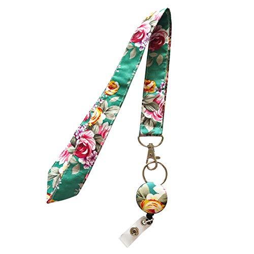 surlove Damen Office Flower, Riemen aus PU Stoff Lanyards für Schlüssel Schlüsselanhänger Krankenschwester Badge Holder blau
