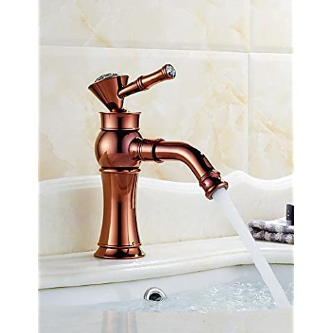 Art Deco / Retro Rose Gold & Golden un orificio con un asa Grifo lavabo , oro simple de lujo elegante y clásico diseño duradero