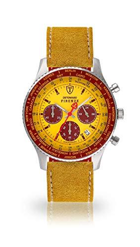 DETOMASO FIRENZE Uomo Orologio Cronografo Analogico Cinturino in pelle giallo quarzo quadrante giallo SL1624C-YB-810