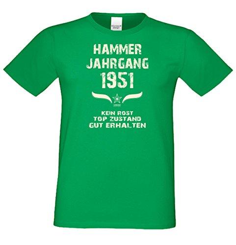 Modisches 66. Jahre Fun T-Shirt zum Männer-Geburtstag Hammer Jahrgang 1951 Ideale Geschenkidee zum Jubeltag Farbe: hellgrün Hellgrün